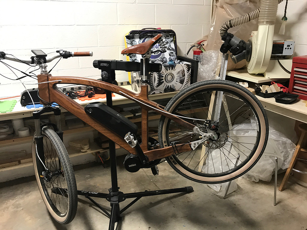 Final Assembly of Wooden Electric Bike Prototype