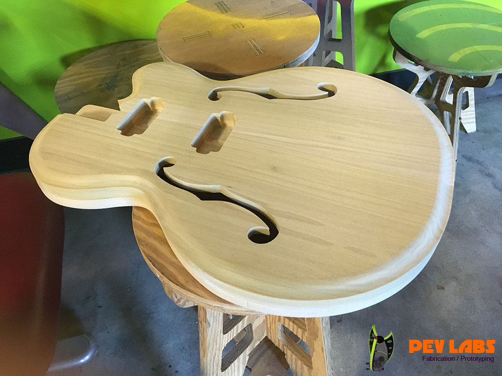 CNC Milled Semi Hollow Body Guitar Front, Milled and Routed