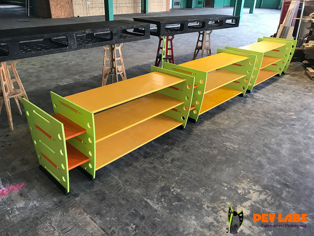 Colorful Painted Flat-Pack Workbench Shelving Unit Assembled