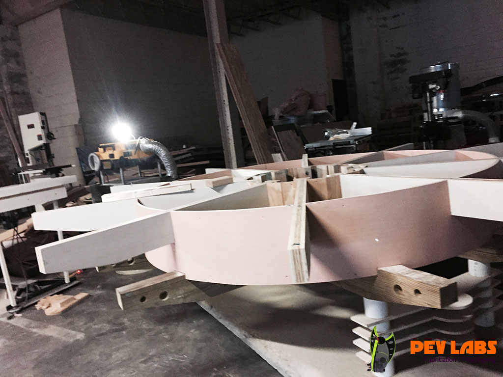 Fabrication of Curved Wooden Plywood Beam Framing Notches