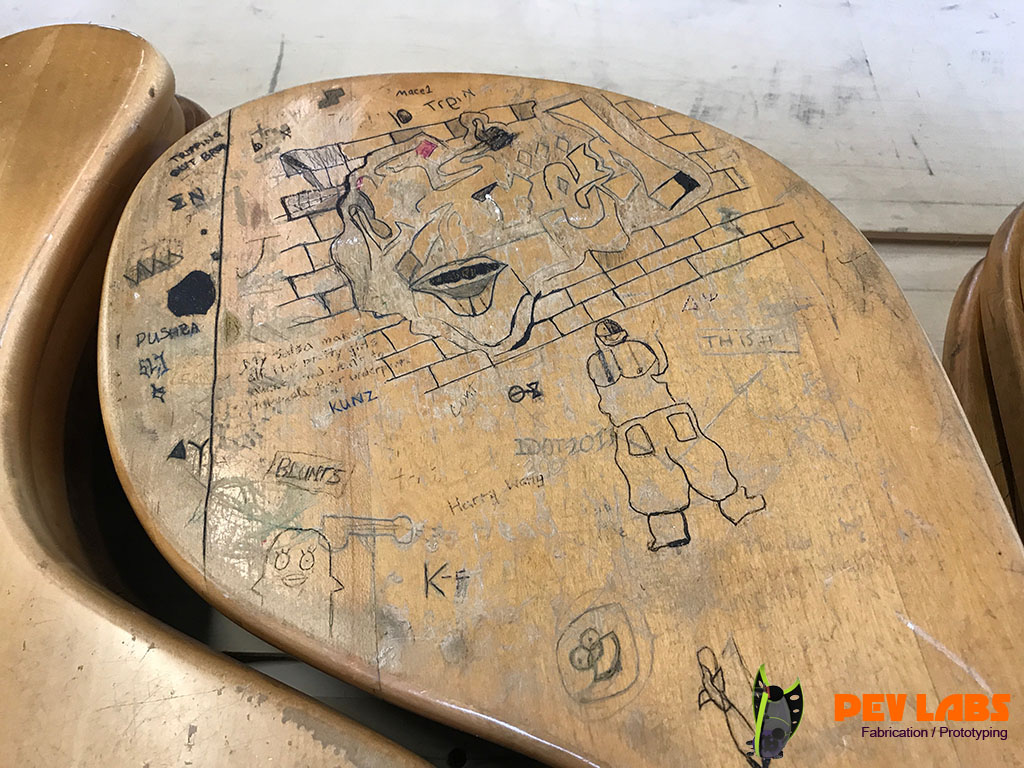 Pev Labs Uva Rotunda Coasters Up Cycling Graffiti Desks