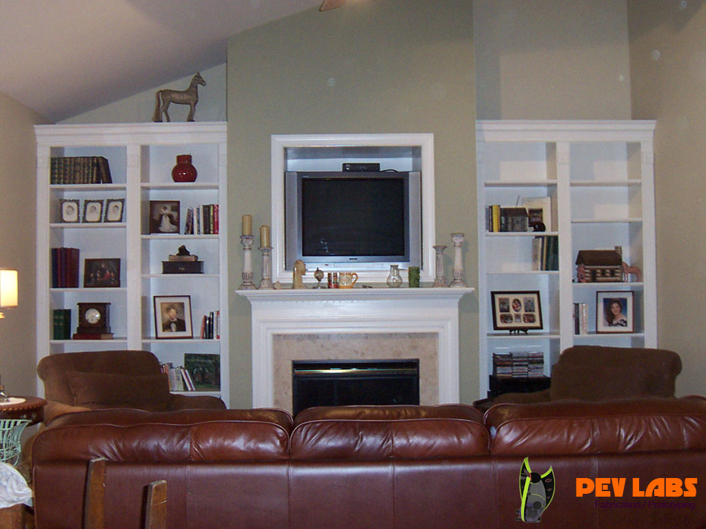 Built in Book Shelves and Fireplace Trim