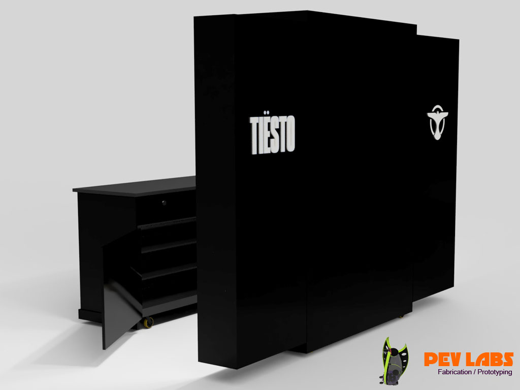 Tiesto Merch Cabinet Rear Branding