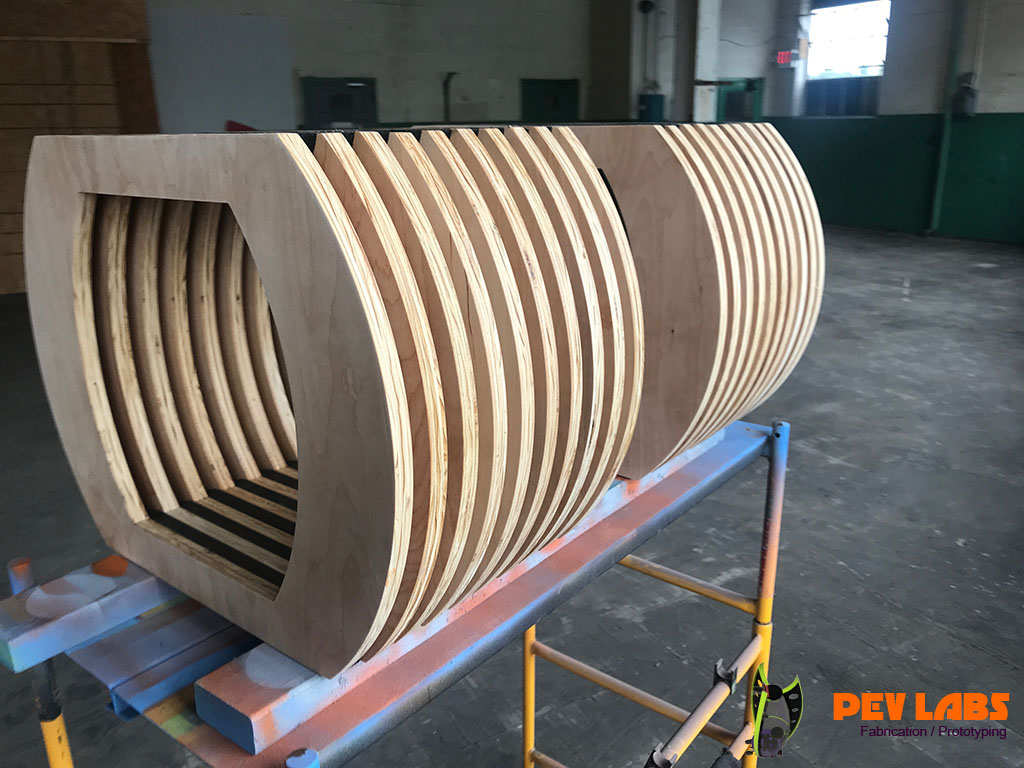 Parametric Plywood Ribbed Benches